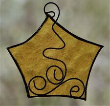 GOLD YELLOW STAR Stained Glass Suncatcher + Hand Scrolled Wire CHRISTMAS Decor