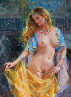 Hand painted Figure Oil Painting On Canvas Female Nude girl #310 NO Frame