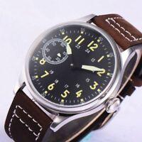 44mm Crogeut Schwarz dial 17 jewels 6497 Handaufzug movement Uhr mens Wristwatch