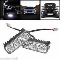 2× High Power 9W White Aluminum 3-LED DRL Daytime Running Light 100% Waterproof
