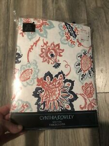 """New Cynthia Rowley Cotton Floral 60x102"""" Oblong Tablecloth"""