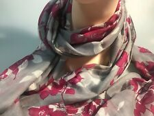 David Lawrence Aster Floral Long Modal Scarf Red-grey Colour With Tag