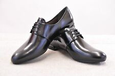 NIB PRADA CALZ DONNA BLACK MATTE LEATHER LACE-UP OXFORD SHOES SIZE 37/7 US