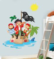 Childrens Pirate Island Wall Art Vinyl Stickers Boys Girls Bedroom Decal Mural