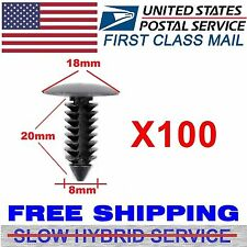 100 X 8mm Auto Car Hole Plastic Rivets Fastener Fender Bumper Push Pin Clips