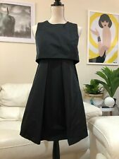 Cue Black Abstract Pleated Cape Dress - Size 8