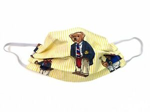 Polo Bear Womens Ralph Lauren Face Mask Teddy Bear Cotton Pleated Nose Wire