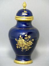 Bareuther Deckel Vase Echt Cobalt Kobalt 22 Carat Karat Gold um 1970