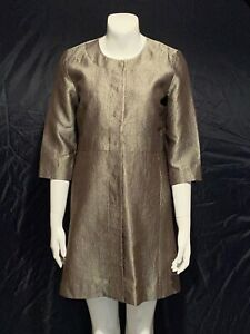 New Eileen Fisher Silk Groove Open Front Jacket Coat Long Duster Women Size XS