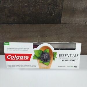 Colgate Essentials Daily Toothbrush Toothpaste Kit with Charcoal Whitening Mint