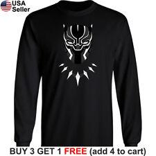 Black Panther Long T-Shirt Marvel Comic Mask Super Hero Avengers Wakanda Forever