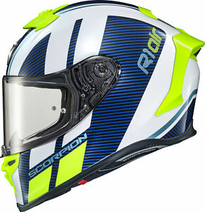 Scorpion EXO-R1 Corpus Air Helmet White/Blue 2XL