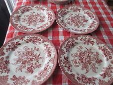"Royal Stafford Asiatic Pheasant 4 Red Dinner Plates 11 "" England Bird Flower"