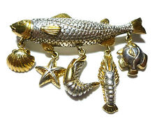 SERGIO BUSTAMANTE MEXICO STERLING SILVER GOLD CHARM FISH LIFE BROOCH PIN PENDANT