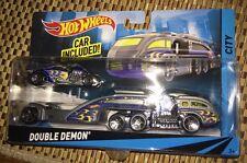 Hot Wheels Double Demon Semi Truck Hauler Truckin Detachable Cab Car Set Trailer