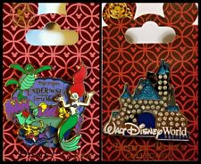 Disney Parks 2 Pin Lot Little Mermaid Ariel Ride + Jeweled Castle - red cards