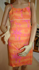 LILLY PULITZER Sunset Beach Print Sundress Size 6 Flamingos Palm Trees