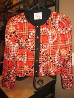 Doncaster Red Plaid Gold Necklace Chain Pearl Pattern Blazer Jacket Ladies 6