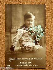 R&L Postcard: Sentimental Birthday Boy in Sailor Uniform Holding Flowers