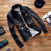Mens Denim Jean Jacket Casual Blue Coat Western Cowboy Shirt Outwear Fashion