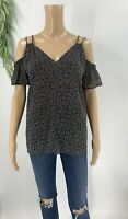 Ann Taylor Loft Womens Pullover Blouse Size XS Black Printed Cold Shoulder Top