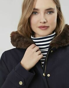 Joules Womens Piper Parka With Fur Trimmed Hood - Marine Navy - 20