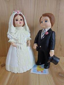 "WEDDING FIGURINES Set of 2 Bride and Groom 13"" Statue Hand Painted Ceramic"