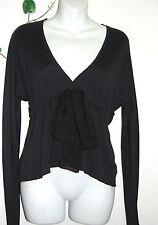 GF Ferre Black Woman's Bow Top Italian Silk Shirt Blouse Size XS NEW
