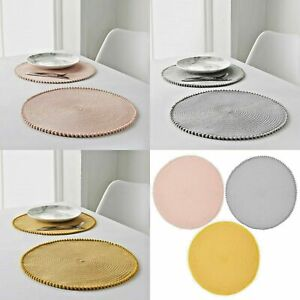 Round Pom Pom Placemats 4/8 Pack Dining Table Mat Home Decor (Ochre, Blush,Grey)
