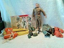 "Vintage 1964 Hasbro GI Joe Scar Face Brown Hair 11-1/2"" Tall 2 Flight Suits"