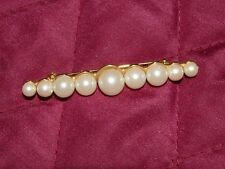 ANNE KLEIN COSTUME GOLDTONE BAR PIN WITH FAUX PEARLS