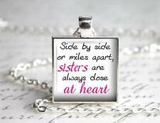 Sisters At Heart Pendant Charm Keychain Long Distance Relationship Family Love