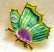 """Hand Crafted Brass Butterfly Green/Blue Button  Realistic FREE US SHIPPING 1"""""""
