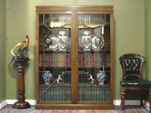 ANTIQUE MAHOGANY 2 DOOR FLOOR BOOKCASE DISPLAY CABINET ~ FINE QUALITY  c1900s