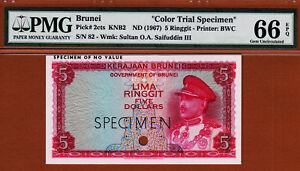 Brunei 5 Ringgit 1967 Red COLOR Trial Specimen Pick-2ct Gem UNC PMG 66 EPQ