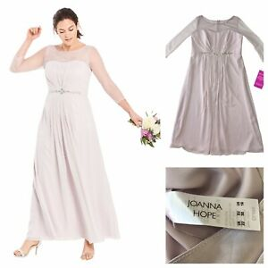 Joanna Hope Ladies Grey Bead Trim Maxi Dress Size 22 UK Bridesmaid Dress