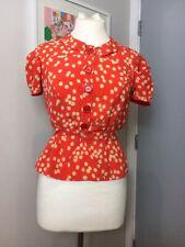 Sonia By Sonia Rykiel 1940s estilo Papaya Coral Lunares Punto Blusa S 8 RP £ 200
