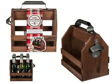 Wooden and Metal Bottle Carrier for 6 Bottles. Crate with bottle Opener