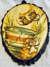 Wooden Wall Hanging Decoration Two Mice Playing In Cracked Tea Cup Bark Edging