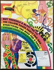 1969 Yellow Pages Party Pak Print Ad Peter Max-like Colorful Flower Power Style