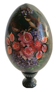 """Vintage Russian Hand Painted Lacquer Wood Egg Flower  3 3/4"""""""