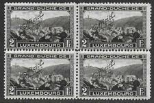 Luxembourg stamps 1922 MI Official 128A P.11 1/2 Bloc of 4 MNH VF CAT VALUE $195