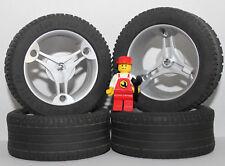 LEGO Technik Radsatz 32077 2997 Felgen Chrom + Reifen 81.6x34ZR Räder XXL MOC