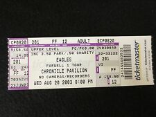"Eagles Concert ""Fare Well 1 Tour"" 8/20/03 Ticket Stub Near Mint"
