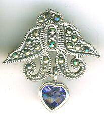 "925 Sterling Silver Marcasite & Blue Iolite Dangling Heart Brooch Length 1"""