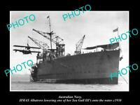 OLD POSTCARD SIZE PHOTO OF AUSTRALIAN NAVY HMAS ALBATROSS & SEA GULL c1930