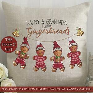 Personalised Christmas Cushion Gift Gingerbread Grandchildren Nanny Grandad Mom