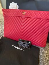 CHANEL large rossa frizione/O Case con dustbag, Scatola, carta e GHW