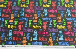 """The Beatles cotton fabric multi-color Rainbow Psychedelic Logo Print 36""""x44"""""""
