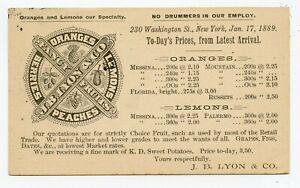 ILLUSTRATED UX 1889 POSTAL CARD FANCY FRUIT PRICE LIST ORANGES & LEMONS NEW YORK